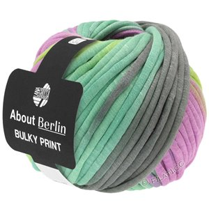 Lana Grossa BULKY Print (ABOUT BERLIN) | 106-dark gray/lilac/yellow green/light green