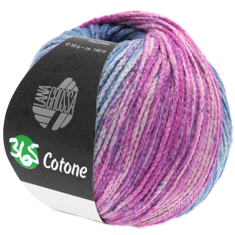 Lana Grossa 365 COTONE Degradé | 105-gray blue/jeans/agate gray/fuchsia/red violet