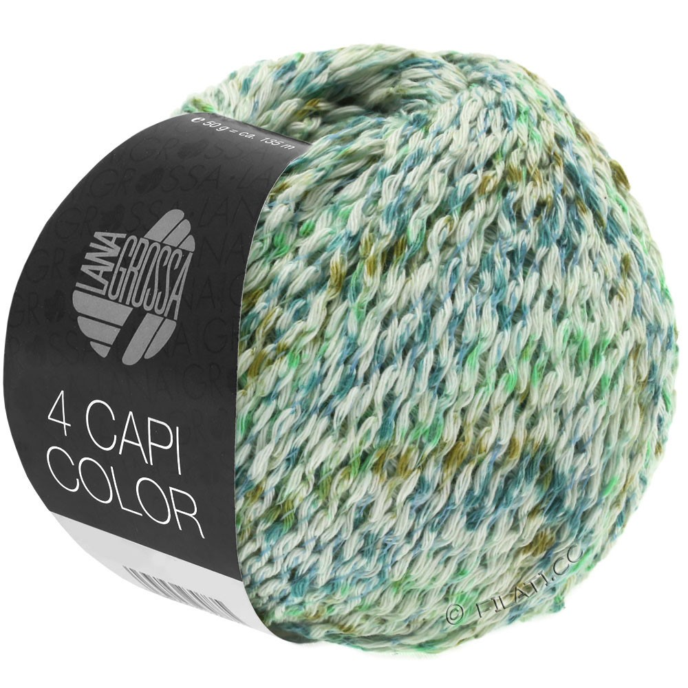 Lana Grossa 4 CAPI Color | 104-natural/jade green/turquoise/olive