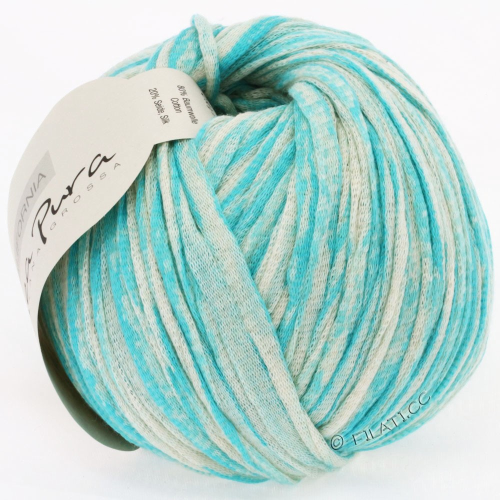 Lana Grossa CALIFORNIA Uni/Print (Linea Pura) | 406-turquoise/natural