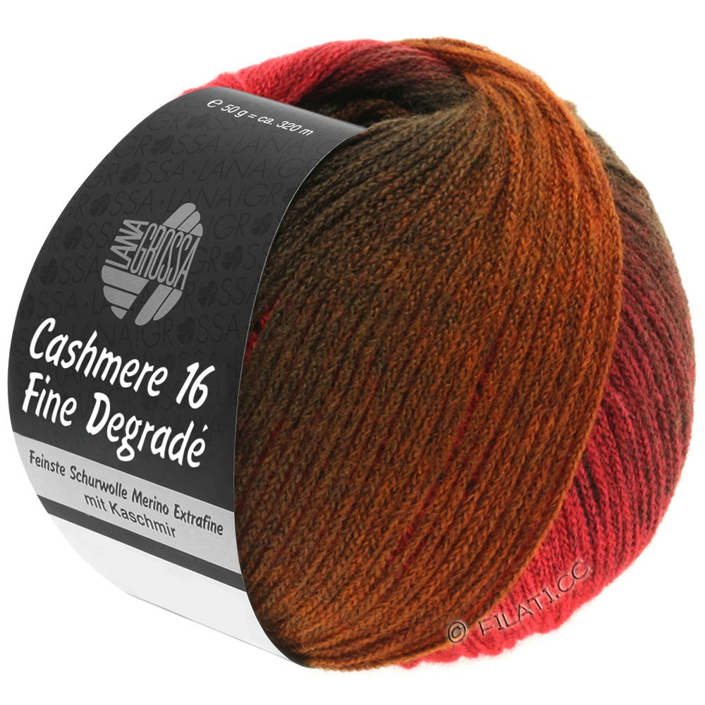 Lana Grossa CASHMERE 16 FINE Uni/Degradè | 105-tomato red/brown/nougat