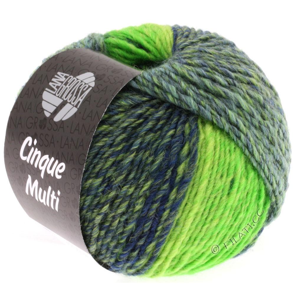 Lana Grossa CINQUE MULTI | 09-black blue/petrol/bilious green/green mottled