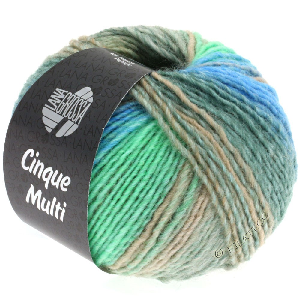 Lana Grossa CINQUE MULTI | 12-light gray/gray green/grège/turquoise/gentian mottled