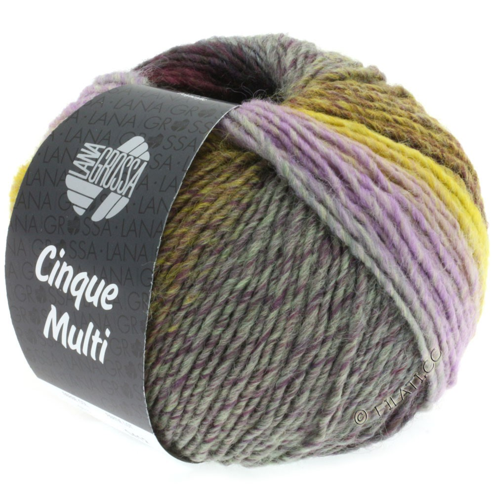 Lana Grossa CINQUE MULTI | 13-gray green/blackberry/lilac/tulipwood/mustard mottled