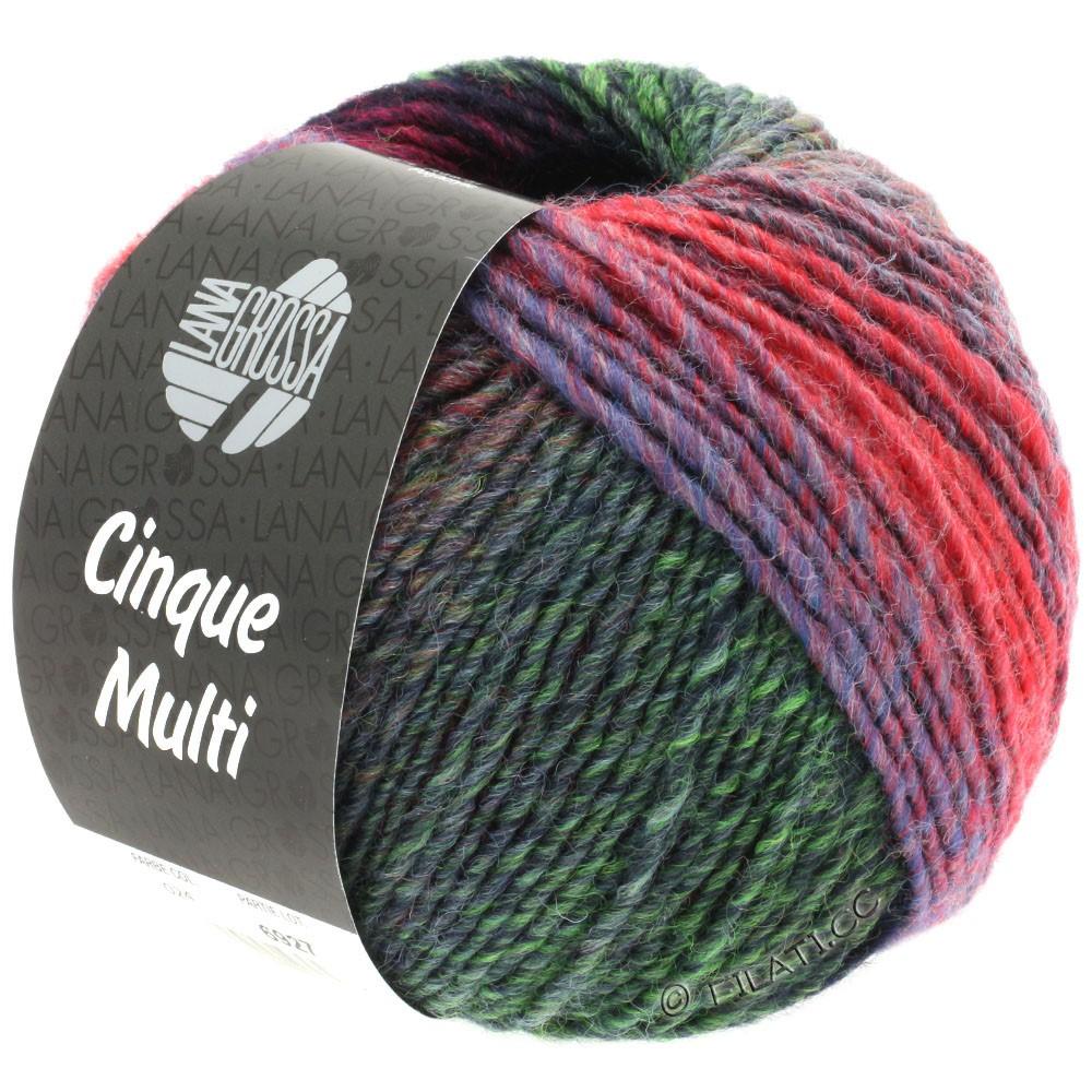 Lana Grossa CINQUE MULTI | 24-blackberry/green/red/blue/gray/petrol/bordeaux mottled