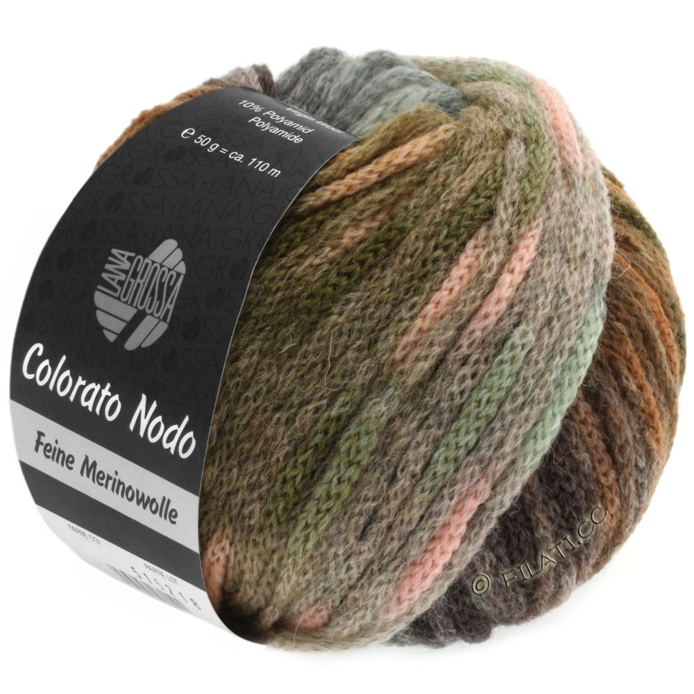 Lana Grossa COLORATO NODO | 107-khaki/hazelnut brown/mint/rose/gray green