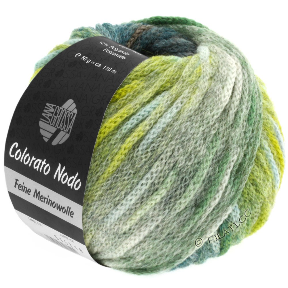 Lana Grossa COLORATO NODO | 108-gray green/petrol/yellow green/reed