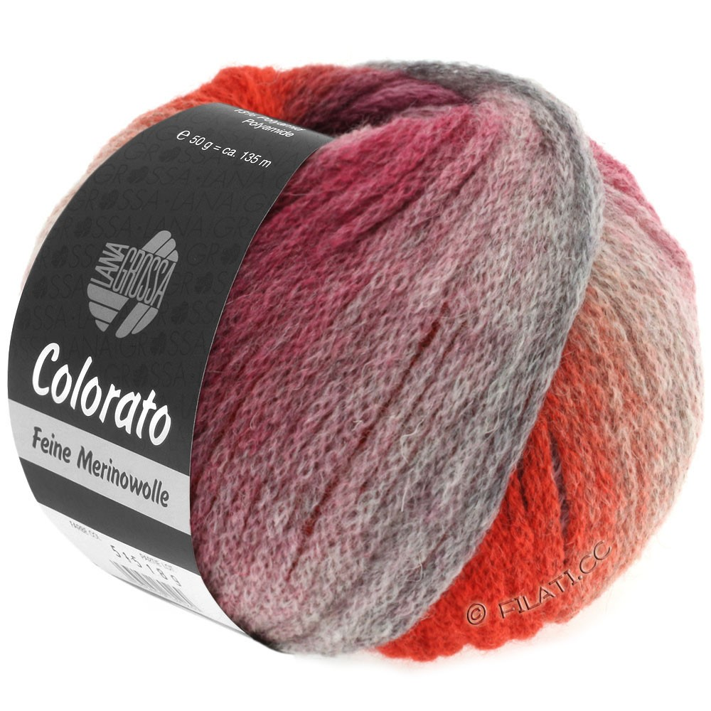 Lana Grossa COLORATO | 010-light gray/dark gray/salmon/wine red/gray red