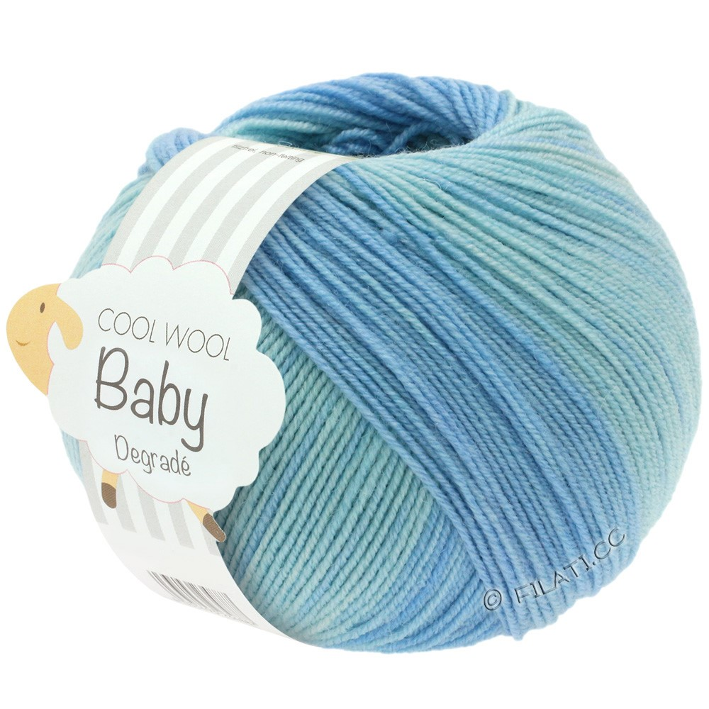 Lana Grossa COOL WOOL Baby Uni/Degradè | 503-pale blue/subtle blue/light blue/anemone