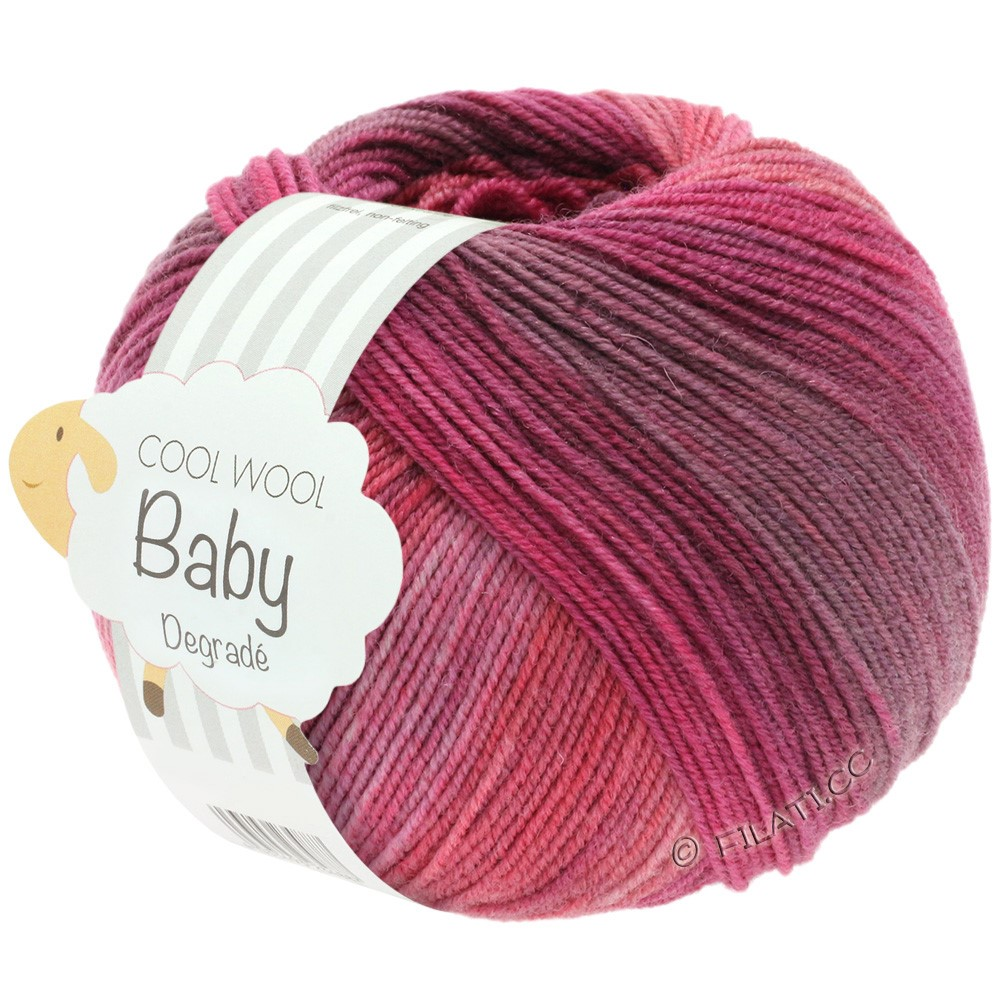 Lana Grossa COOL WOOL Baby Uni/Degradé | 507-berry/antique purple/raspberry