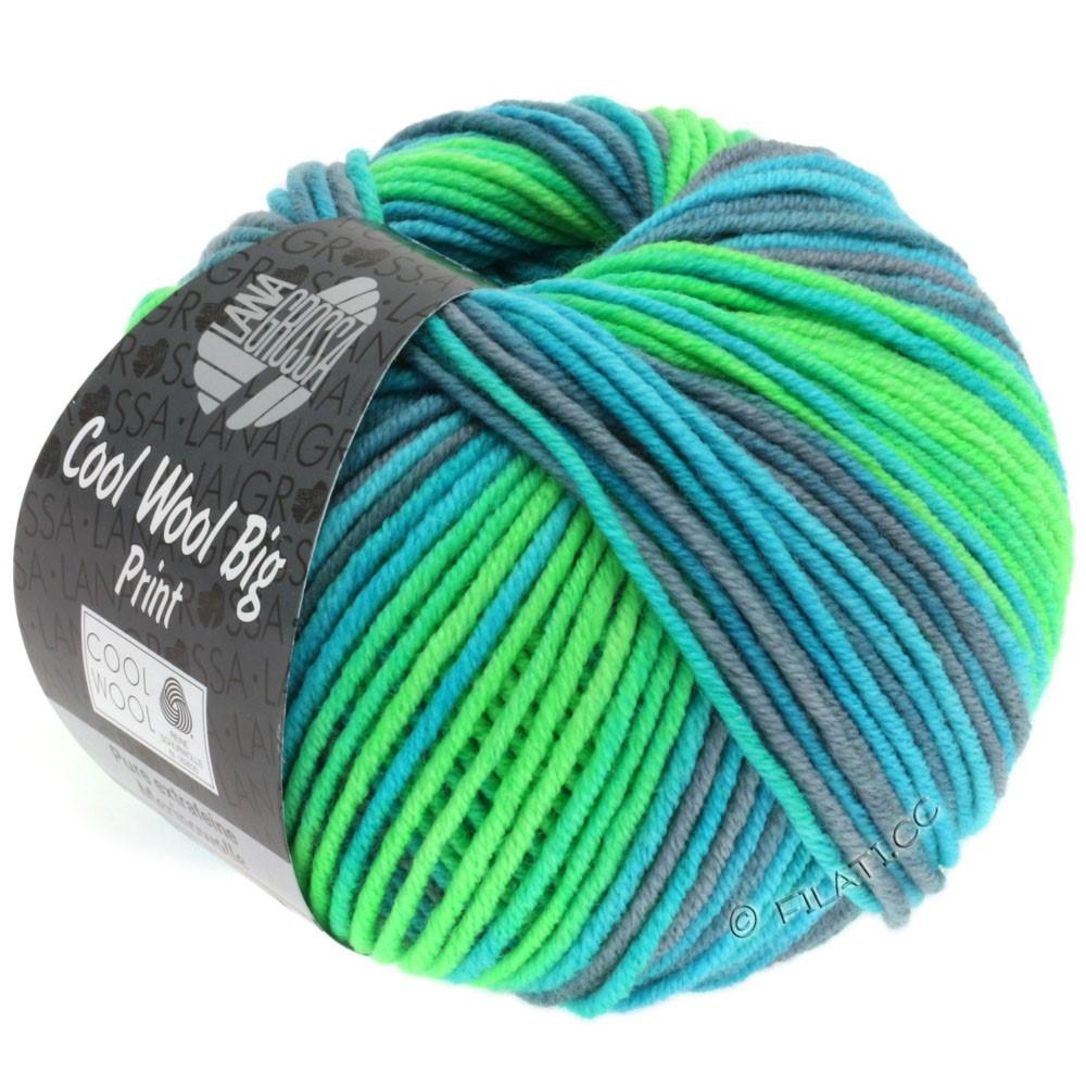 Lana Grossa COOL WOOL big uni/melange/print   3001-Yellow  green/light green/turquoise/gray