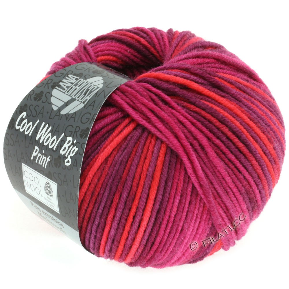 Lana Grossa COOL WOOL big uni/melange/print   3003-red/pink/bordeaux