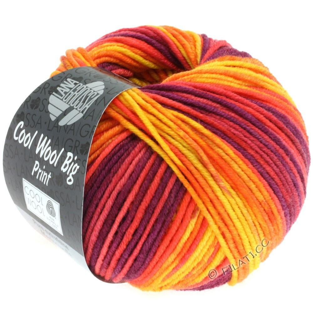 Lana Grossa COOL WOOL big uni/melange/print | 3007-yellow/orange/red/red violet