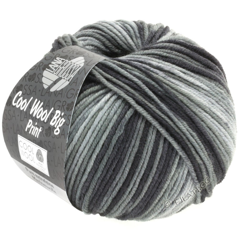 Lana Grossa COOL WOOL Big Uni/Melange/Print | 3008-gray/dark gray/anthracite