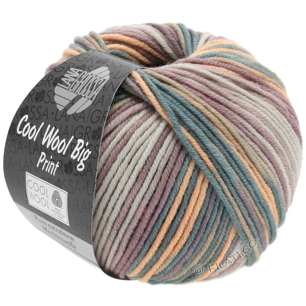 Lana Grossa COOL WOOL Big Uni/Melange/Print | 3009-grège/taupe/antique pink/peach/dark gray