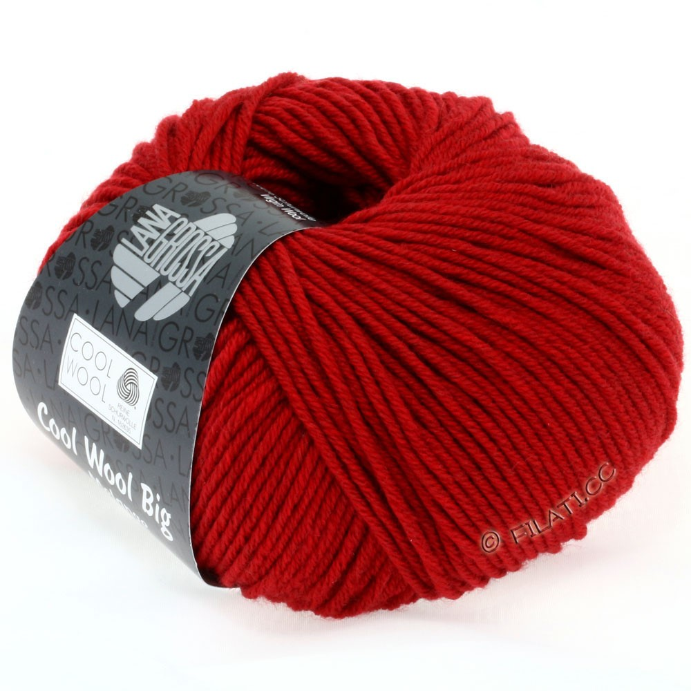 Lana Grossa COOL WOOL Big Uni/Melange/Print   0302-red mottled