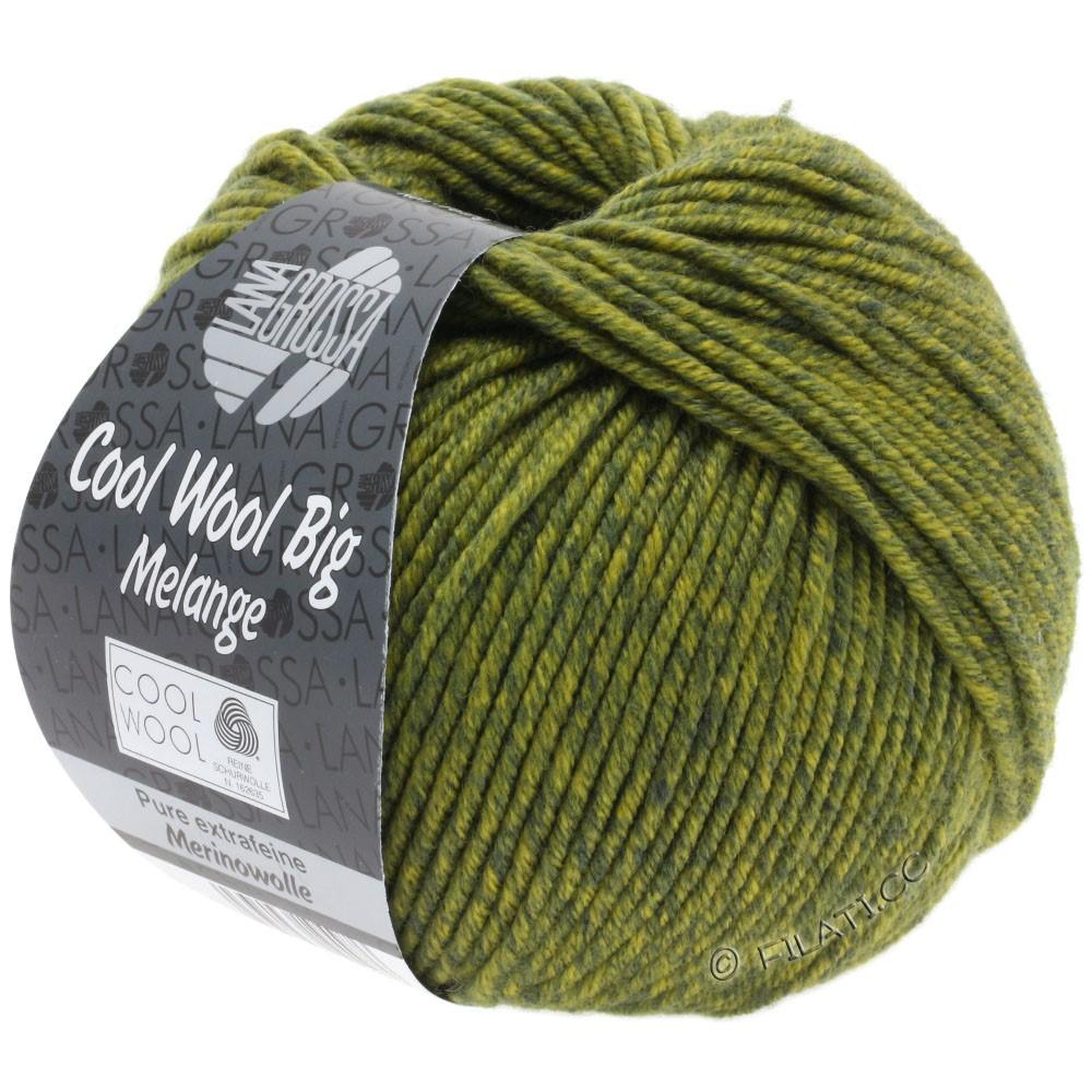 Lana Grossa COOL WOOL Big Uni/Melange/Print   0340-dark olive/olive yellow mottled