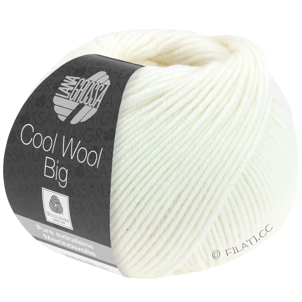 Lana Grossa COOL WOOL Big  Uni/Melange/Print | 0615-white