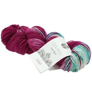 Lana Grossa COOL WOOL  Hand-dyed | 109-turquoise blue/red violet/raw white/petrol