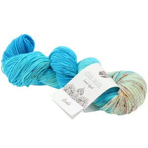Lana Grossa COOL WOOL  Hand-dyed | 110-azure blue/light blue/raw white/fuchsia