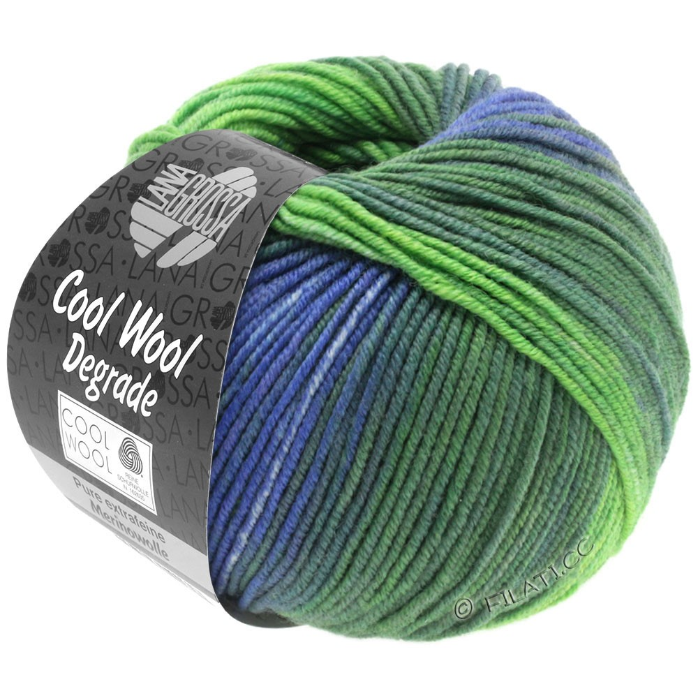 Lana Grossa COOL WOOL  Uni/Melange/Print/Degradé/Neon | 6005-gray purple/gray green/hay green/yellow green/lavender