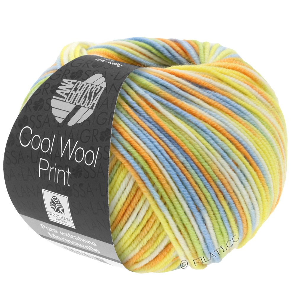 Lana Grossa COOL WOOL  Uni/Melange/Print/Degradé/Neon | 722-light green/light blue/yellow/orange/ecru