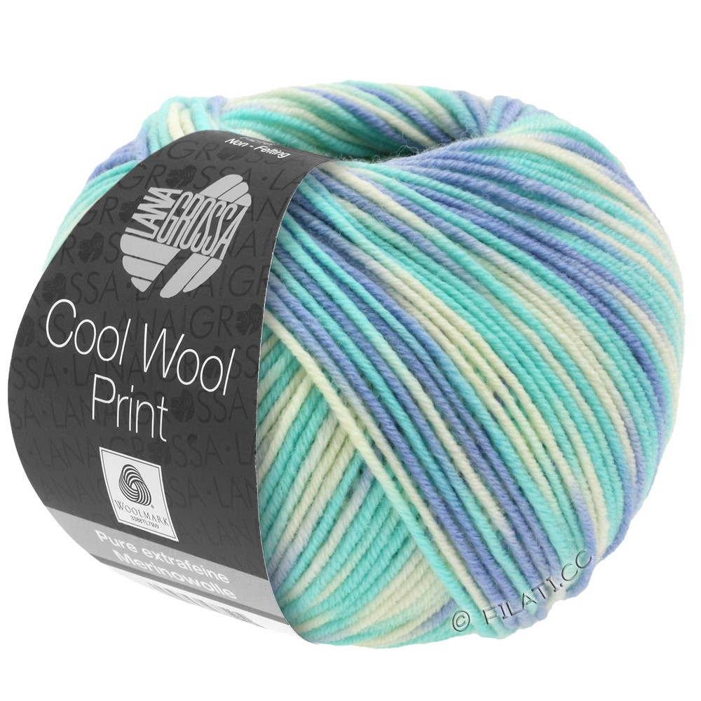 Lana Grossa COOL WOOL  Uni/Melange/Print/Degradé/Neon | 728-sky blue/light turquoise/natural
