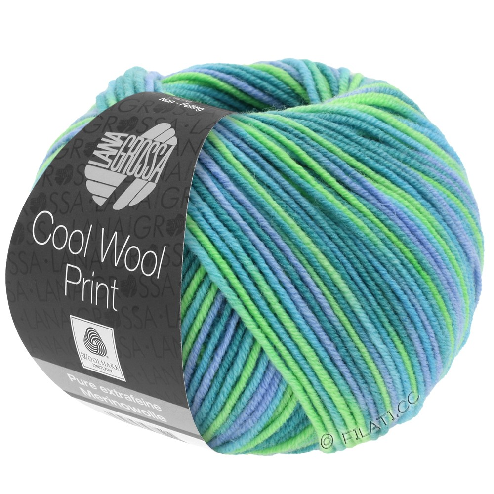 Lana Grossa COOL WOOL  Uni/Melange/Print/Degradé/Neon | 757-turquoise/petrol/sky blue/light green