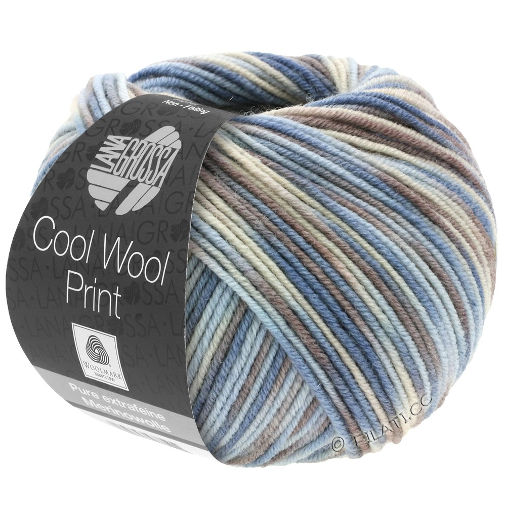 Lana Grossa COOL WOOL  Uni/Melange/Print/Degradé/Neon | 763-light blue/grège/gray brown/blue gray