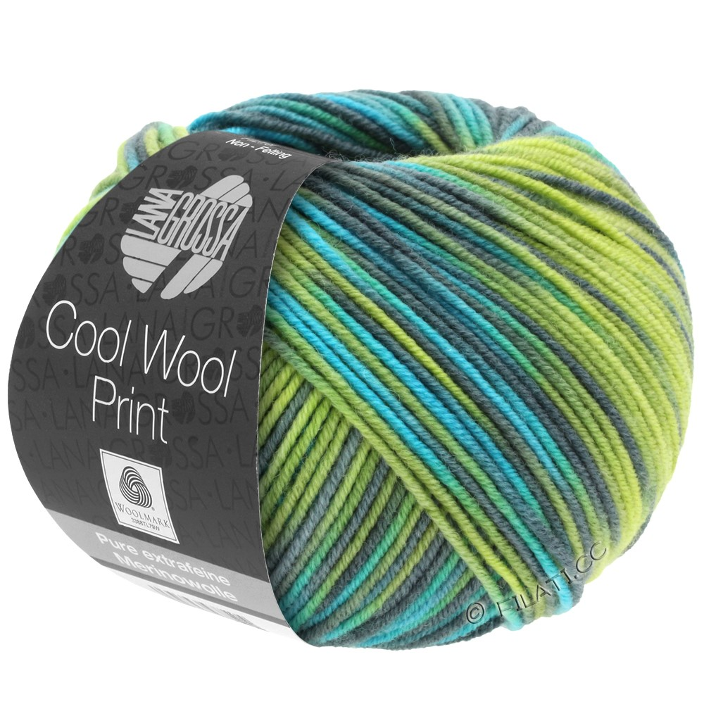 Lana Grossa COOL WOOL  Uni/Melange/Print/Degradé/Neon | 784-light green/apple green/petrol/turquoise
