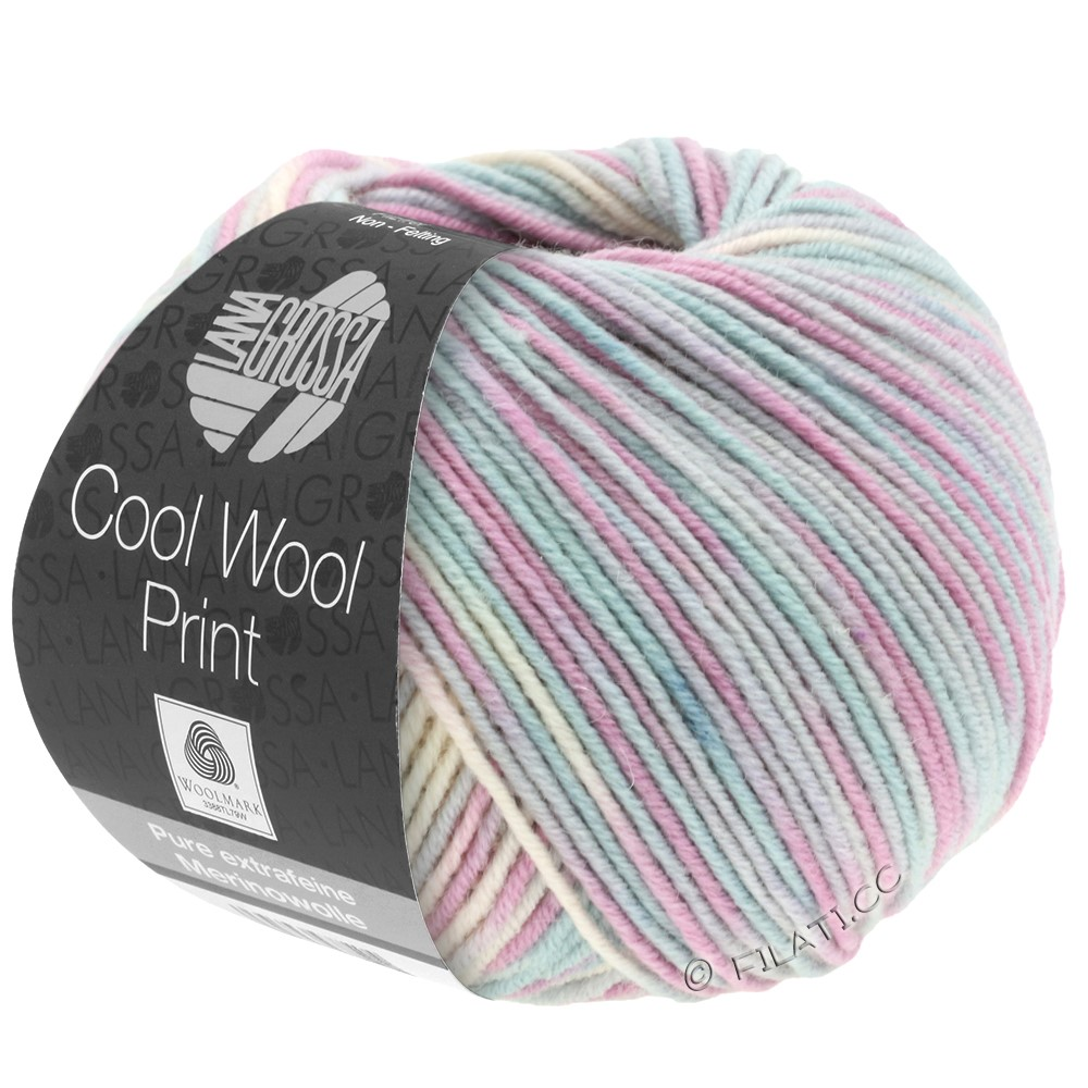Lana Grossa COOL WOOL  Uni/Melange/Print/Degradé/Neon | 792-silver gray/mint/lilac/pale rose