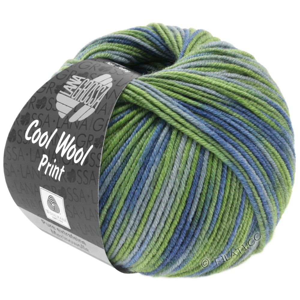 Lana Grossa COOL WOOL  Uni/Melange/Print/Degradé/Neon | 800-light green/reseda green/gray blue/green gray