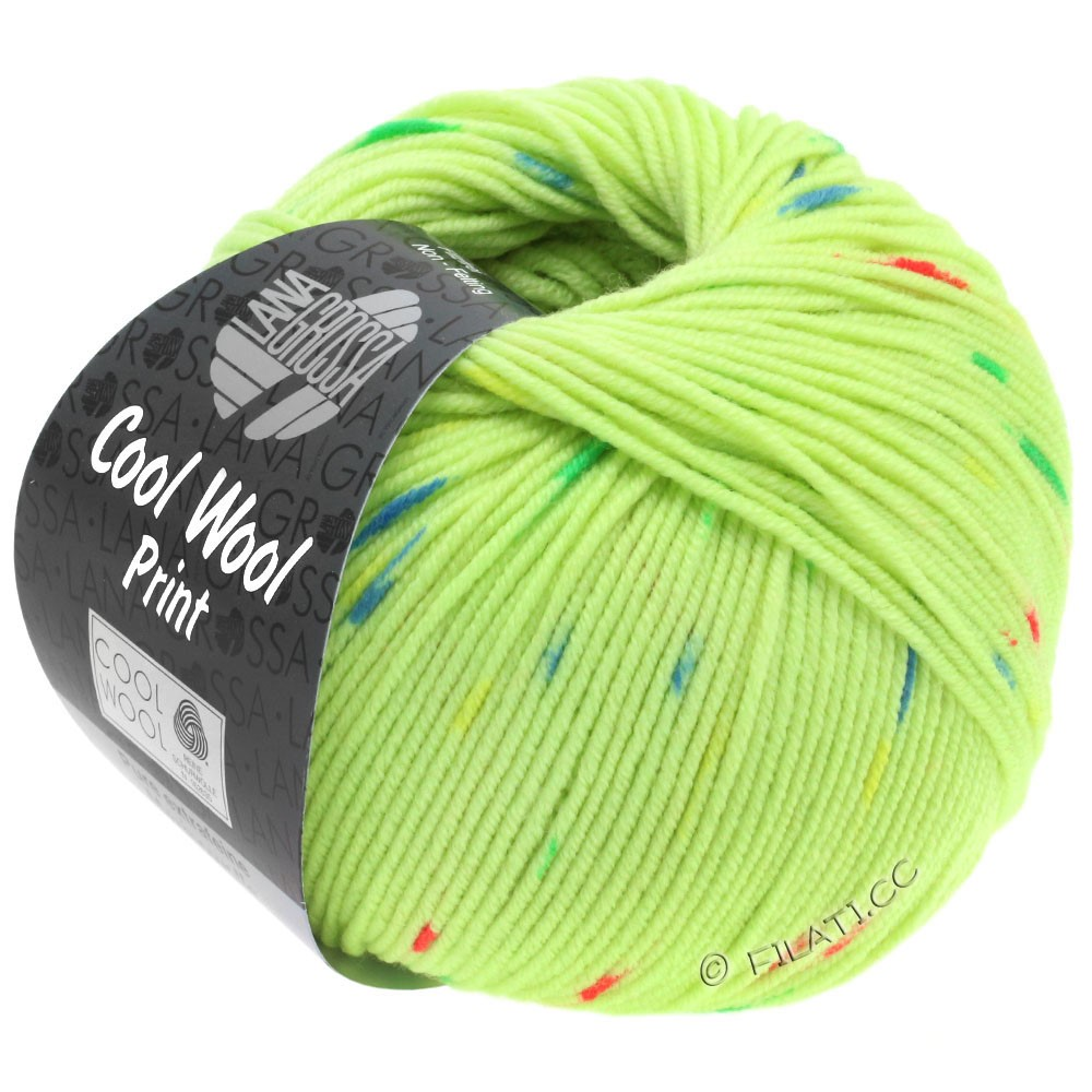 Lana Grossa COOL WOOL  Uni/Melange/Print/Degradé/Neon | 809-light green/pink/green/blue