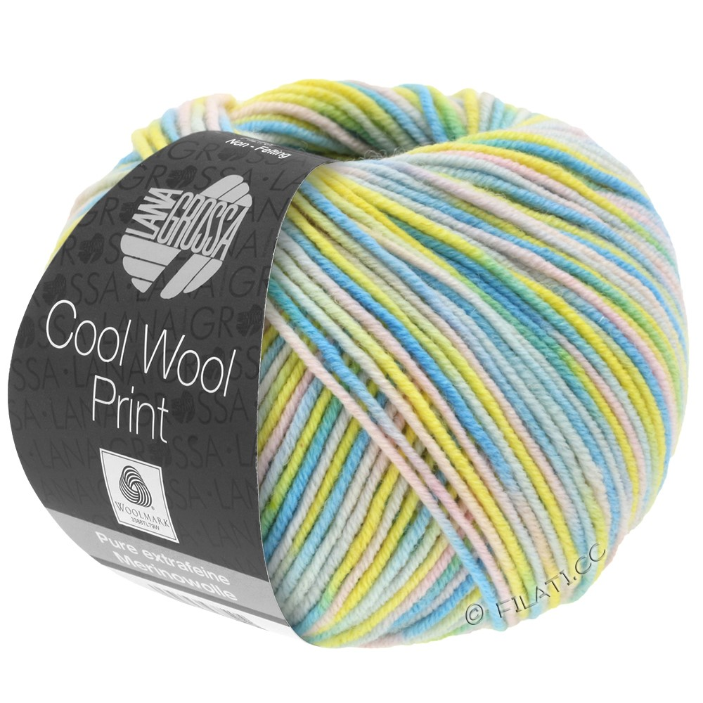 Lana Grossa COOL WOOL  Print | 813-subtle yellow/pale rose/silver gray/turquoise/mint