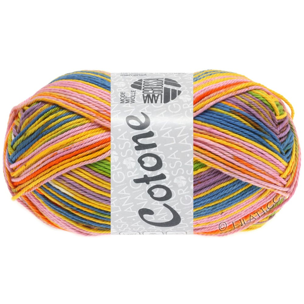 Lana Grossa COTONE Print | 152-egg yolk yellow/orange/lilac/blue/light green