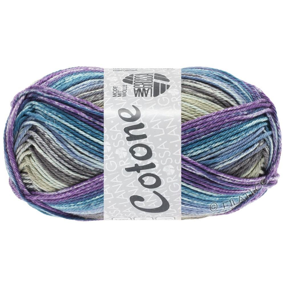 Lana Grossa COTONE  Print/Denim | 257-grège/purple/petrol blue/jeans/taupe
