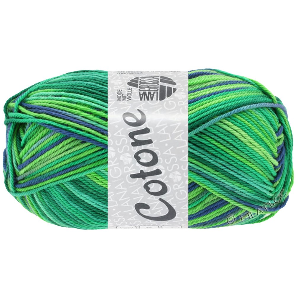 Lana Grossa COTONE Print | 311-emerald/light green/petrol/royal