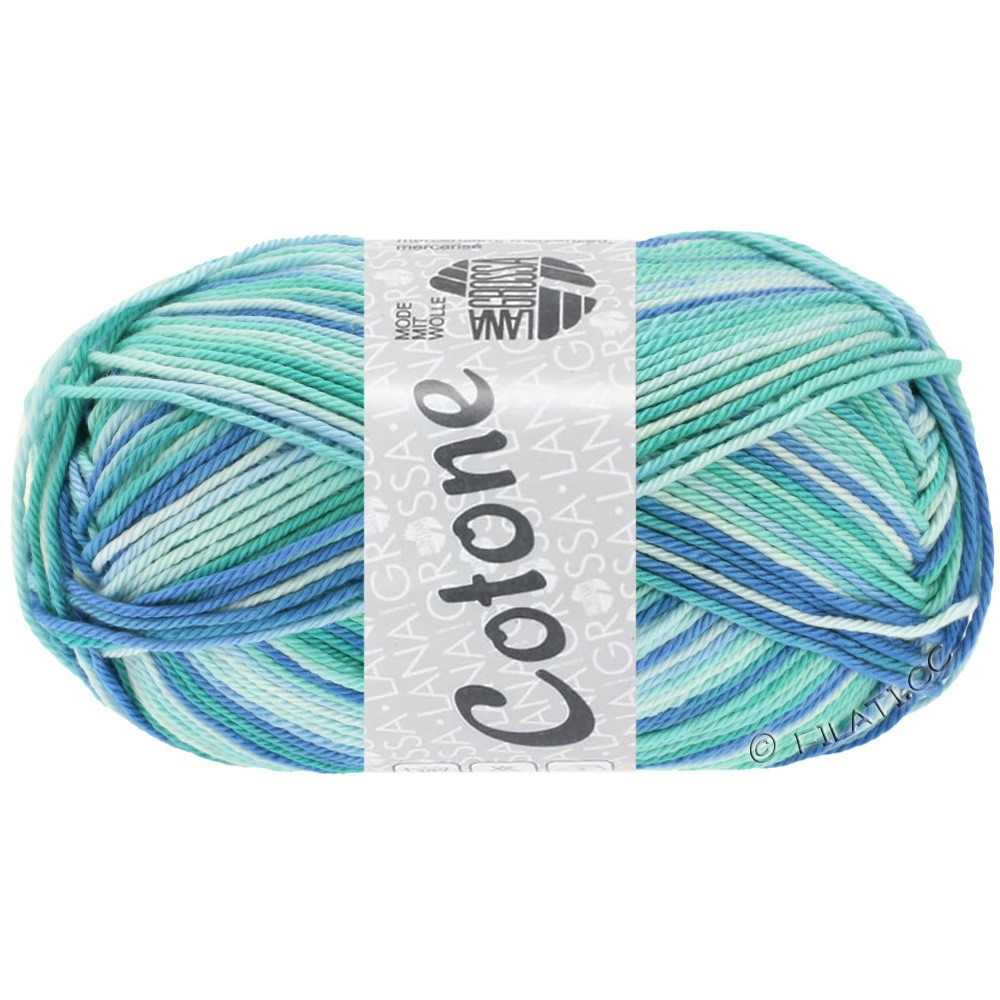 Lana Grossa COTONE Print | 312-ice blue/light turquoise/blue