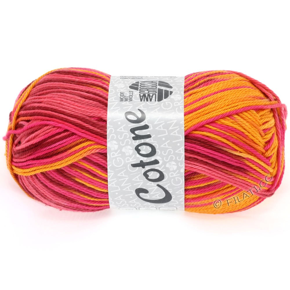 Lana Grossa COTONE Print | 314-orange/pink/wine red/pumpkin