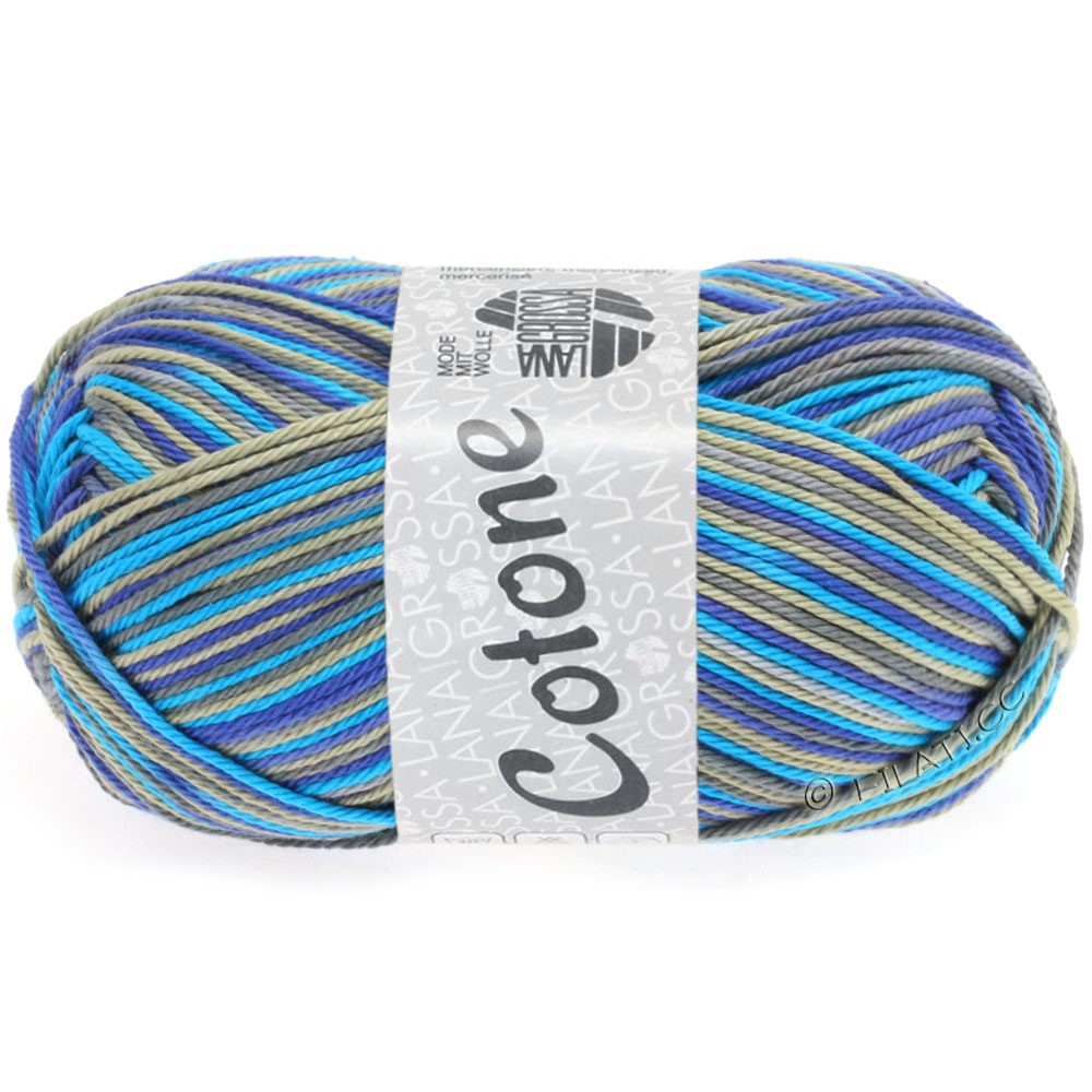 Lana Grossa COTONE Print | 320-azure blue/royal/taupe/gray brown