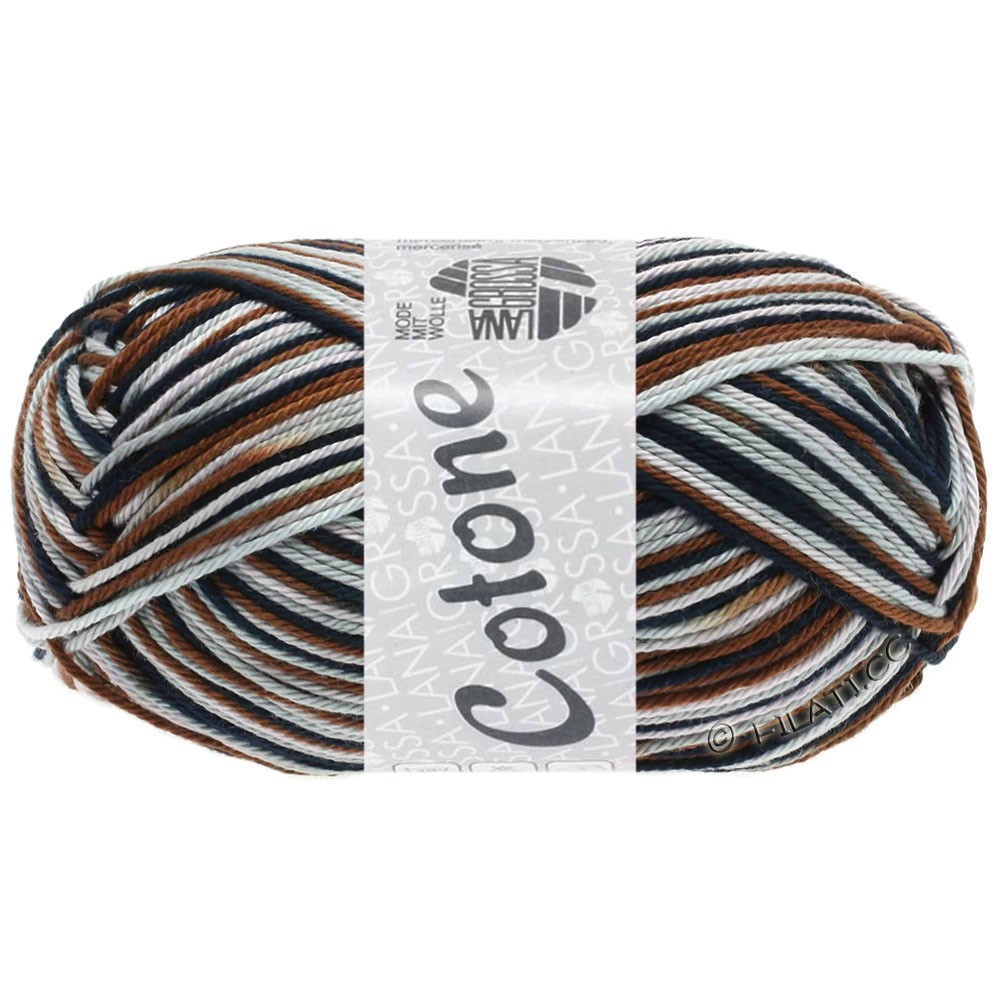 Lana Grossa COTONE  Print/Denim | 329-gray rose/light gray/chocolate brown/black