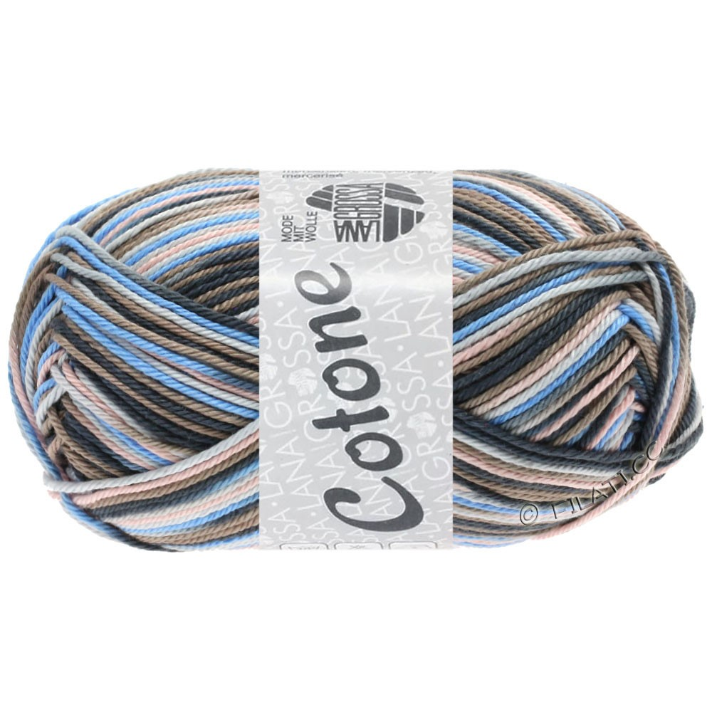 Lana Grossa COTONE  Print/Denim | 332-light gray/taupe/light blue/anthracite