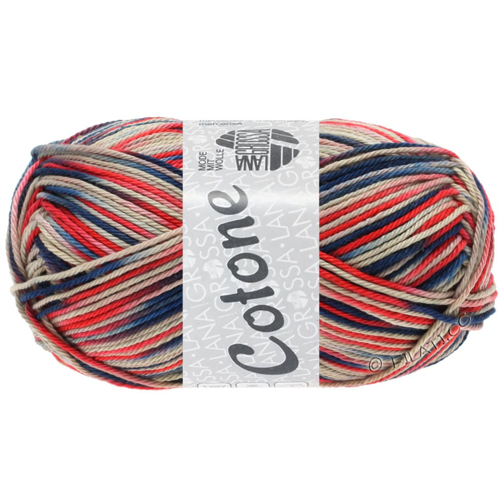 Lana Grossa COTONE  Print/Denim | 333-grège/red/navy/jeans/lilac