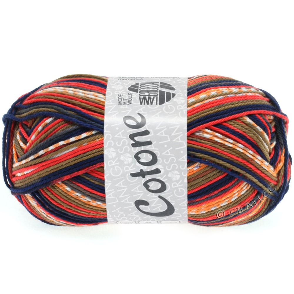 Lana Grossa COTONE Print | 508-brick red/dark gray/dark blue/orange/white/brown