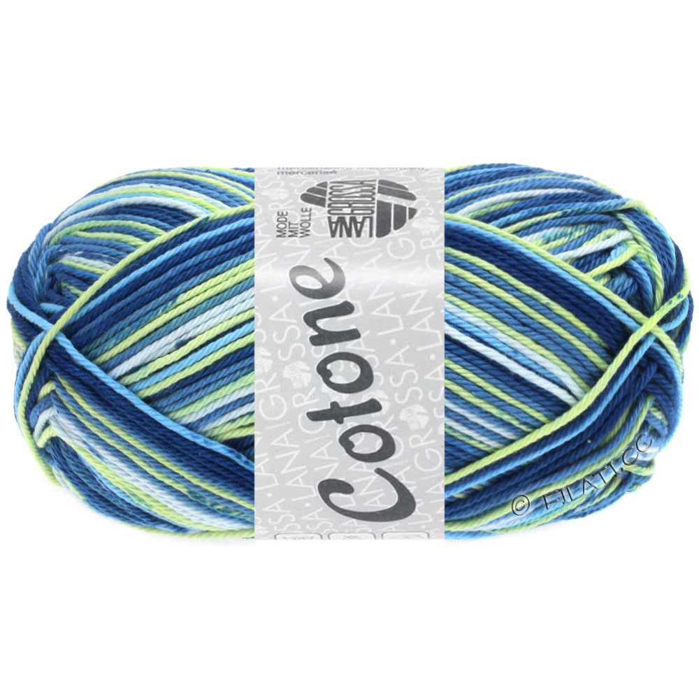 Lana Grossa COTONE Print | 510-light blue/lime/medium blue/white