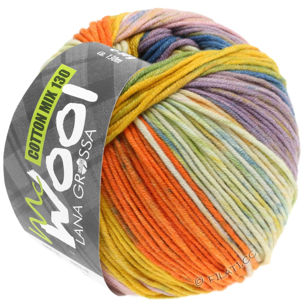 Lana Grossa COTTON MIX 130 Print (McWool) | 302-petrol/gray green/yellow/orange/light green