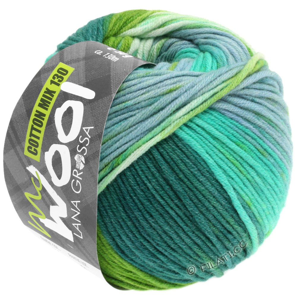 Lana Grossa COTTON MIX 130 Print (McWool) | 306-turquoise/petrol/yellow green/light gray/white