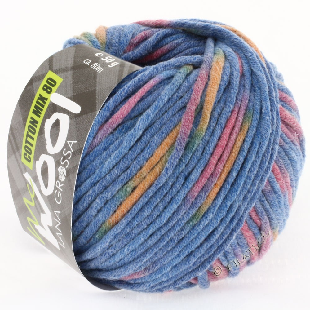 Lana Grossa COTTON MIX 80 Print (McWool) | 751-blue/violet/orange
