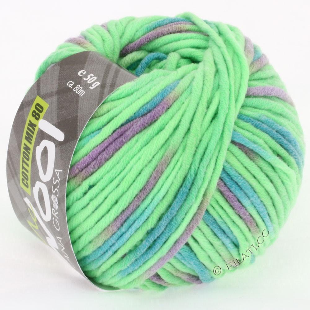Lana Grossa COTTON MIX 80 Print (McWool) | 752-neon green/petrol/lilac