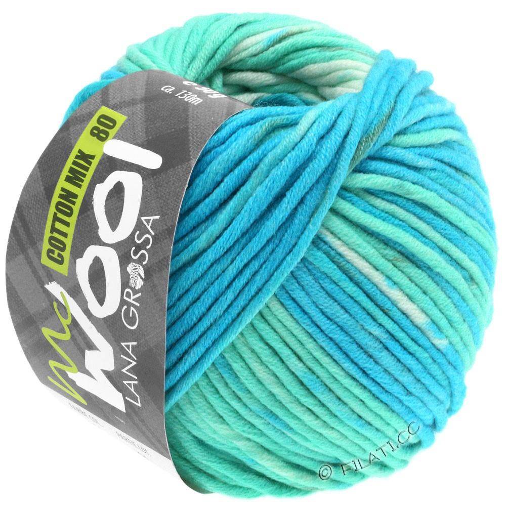 Lana Grossa COTTON MIX 80 Print (McWool)   905-turquoise/light turquoise/gray green/mint/white
